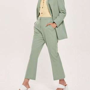 TOPSHOP Green Cropped Suit Pants